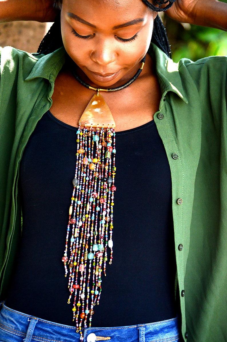 Multicolored Masai beaded chunky necklaceMasai statement image 0