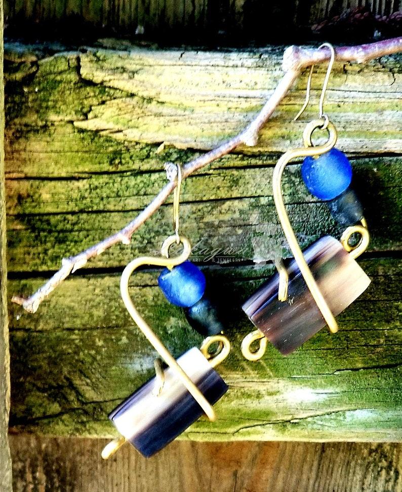 Unique Blue Cow Horn Drop earringsUnique Afrocentric drop image 0