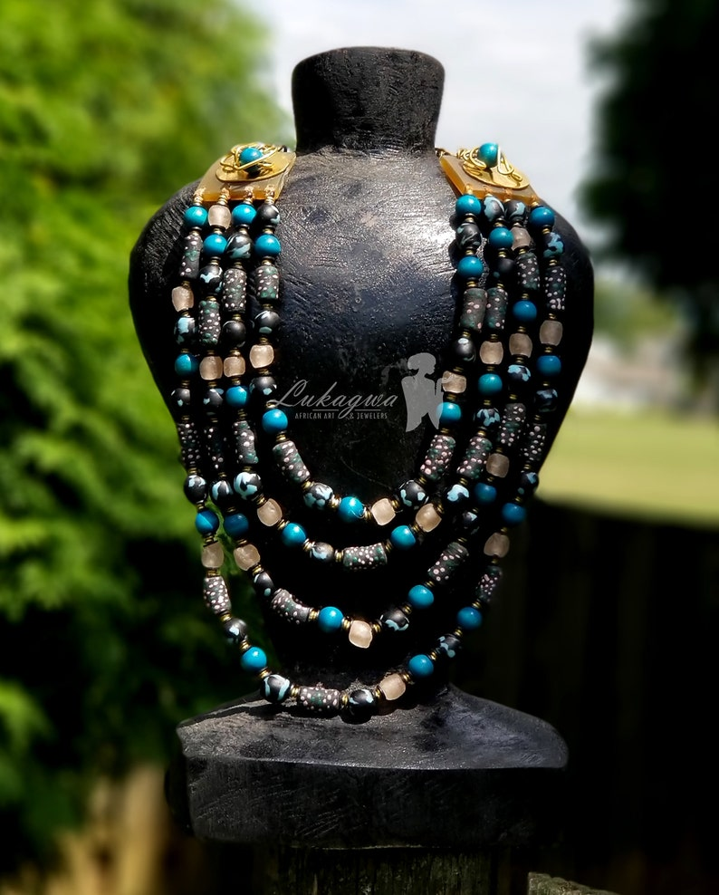 Turquoise Blue Afrocentric layered beaded necklaceTurquoise image 0