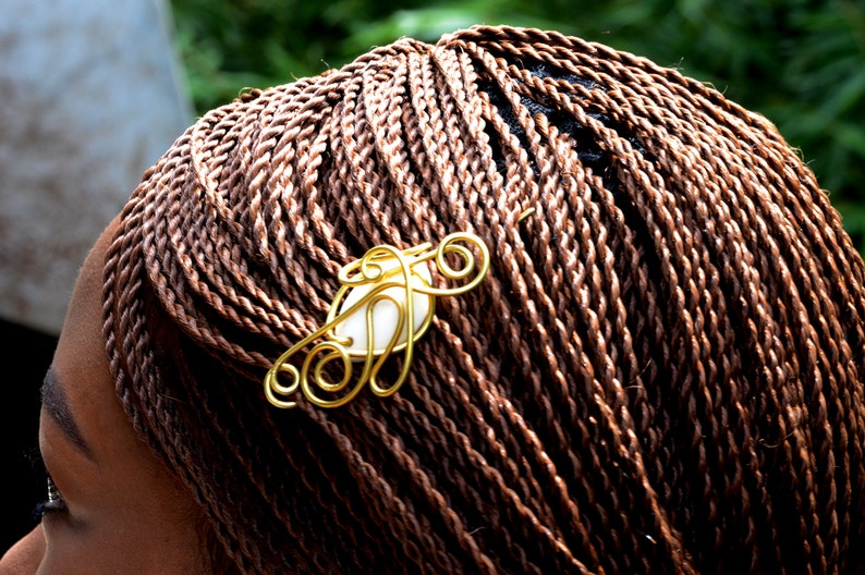 Afrocentric Brass hair clipsAfrican hair accessoriesTrendy image 0