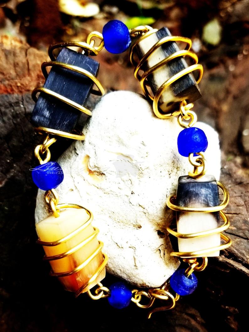 Brass Cow Horn Bracelet Cobalt Blue Cow Horn Brass Bracelet image 0