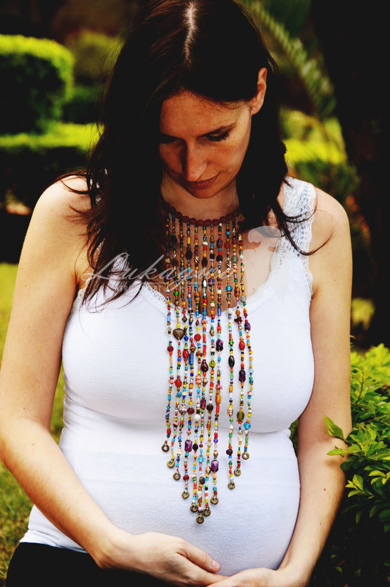 Multicolored African Masai Beaded necklaceRe-purposed image 0
