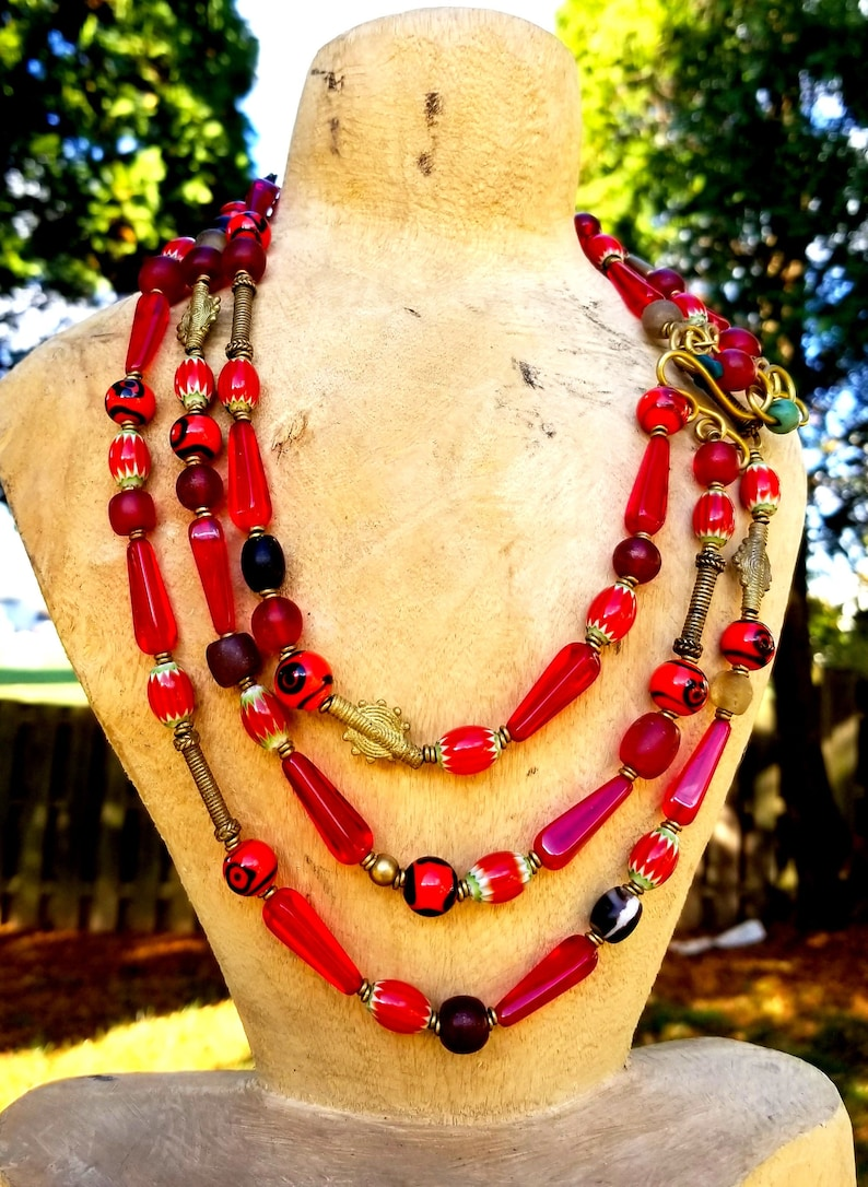 Red Layered Afrocentric Beaded necklaceRed Beaded African image 0