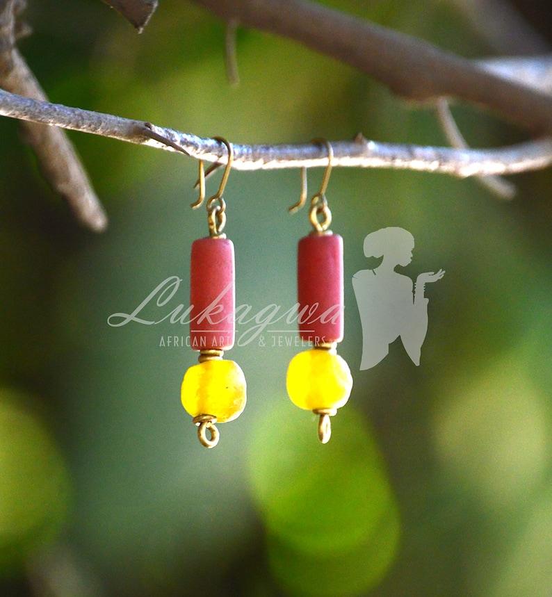 Tonal red beaded earrringsTonal Red African drop earrings image 0