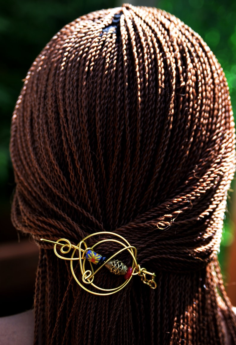 Turquoise Blue African Hair PinBlue Afrocentric Locs Hair image 0