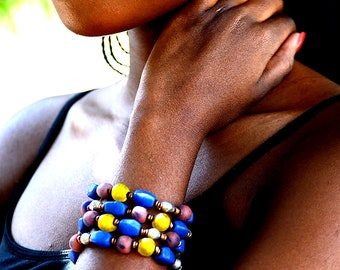 Multi-colored layered African bracelet,Blue and yellow layered beaded bracelet,Maroon African beaded necklace,Gifts for women