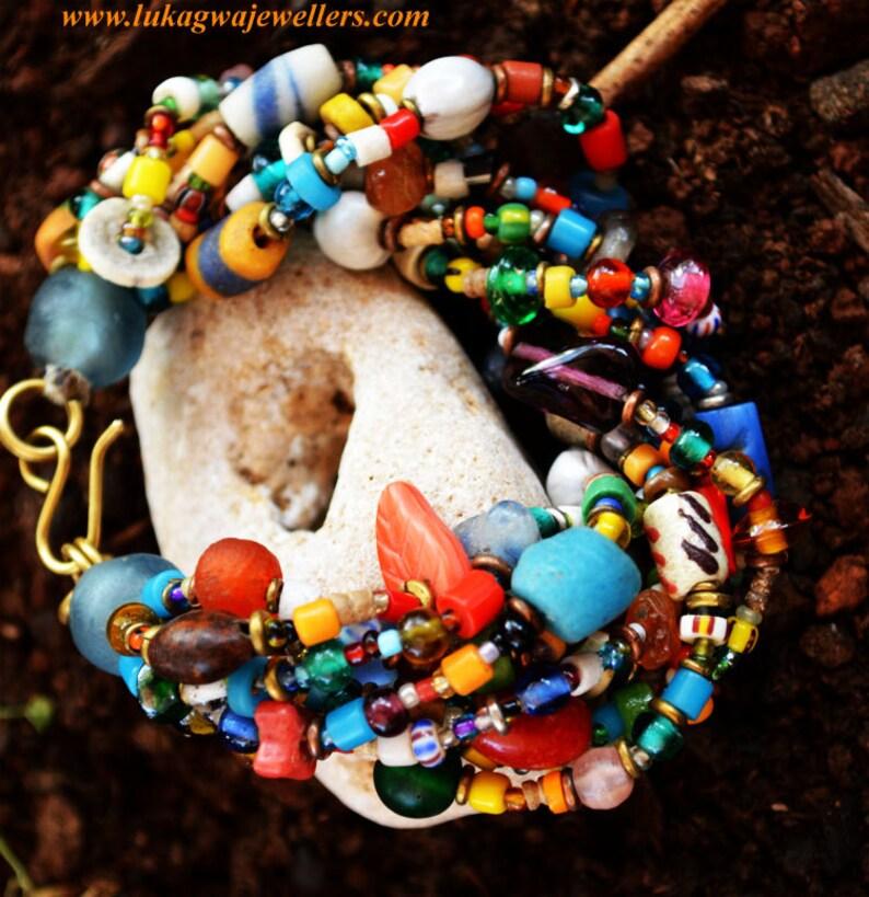 Multicolored beaded BraceletMasai chunky Beaded Bracelet image 0