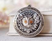 November Birthstone Topaz Silver Owl Locket Necklace , Personalized Photo Customized Picture Locket, November Birthday Gift for Girls Women