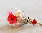 Red Flower Terrarium Necklace January July Birthstone Necklace Garnet Ruby Jewelery Silver Glass Bottle Pendant Valentines Day Gift
