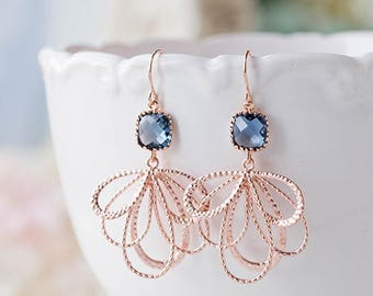 Navy Blue Rose Gold Earrings, Sapphire Blue Glass Stones Chandelier Earrings, Bridesmaid Gift, Wedding Jewelry, September Birthstone