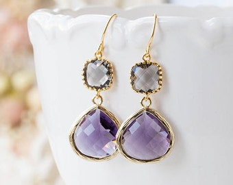 Gray and Purple Earrings Wedding Jewelry Bridal Earrings Maid of Honor Bridesmaid Gift Gift for Her Birthday Gift for Wife Mom Girlfriend