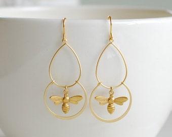 Gold Bee Earrings, Bee Dangle Earrings, Chandelier Earrings, Bee Jewelry, Unique Gift for Bee Lovers