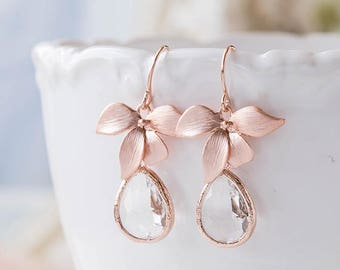 Rose Gold Clear Crystal Earrings, Rose Gold Orchid Flower Dangle Earrings, Rose Gold Wedding Jewelry, Bridesmaid Earrings, Bridesmaid Gift