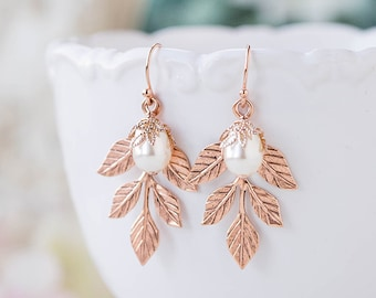 Rose Gold Leaf Earrings with White Teardrop Pearls, Rose Gold Wedding Bridal earrings, Bridesmaid Gift, Wedding Jewelry, Maid of Honor Gift