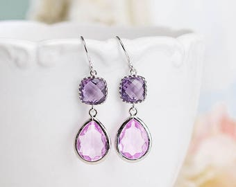 Purple Lilac Earrings, Purple Lilac Wedding Jewelry, Silver Earrings, Bridal Party gift, Bridesmaid Gift, Bridesmaid Earrings,  Gift for her