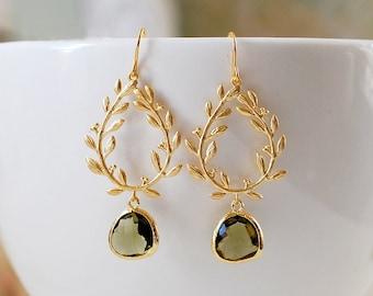 Dark Olive Green Gold Leaf Laurel Wreath Dangle Earrings, Olivine Wedding Jewelry, Christmas Gift for Mom wife girlfriend Sister