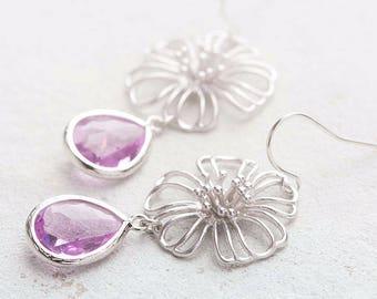 Silver Filigree Flower Lilac Purple Glass Drop Earrings, Lilac Wedding Earrings, Bridesmaid Gift, Flower Dangle Earrings, Gift for women her