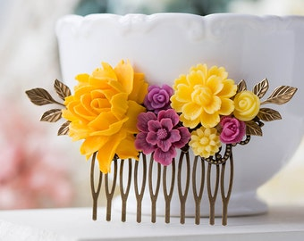 Yellow Plum Wedding Bridal Hair Comb Rose Flower Collage Comb Garden Country Wedding Floral Hair Accessory Bridal Party Bridesmaid Gift