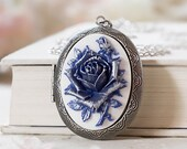 Blue Rose Cameo Silver Locket Necklace, Victorian Floral Oval Locket, Personalized Photo Picture Locket, Mother 39 s Day Gift, Gift for Mom Her