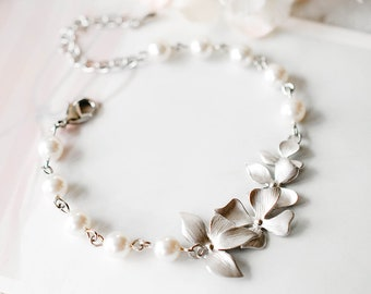 c167272a0 Silver Bridal Bracelet, Silver Orchid Flowers White Swarovski Pearls  Adjustable Bracelet, Wedding Jewelry, Bridesmaid Gift, Flower Girl Gift