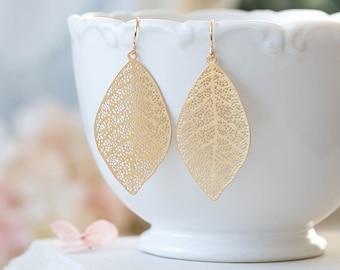 Gold Leaf Earrings Gold Filigree Leaf Dangle Earrings Woodland Jewelry Bohemian Earrings Boho Chic Modern Everyday Earrings Gift for her