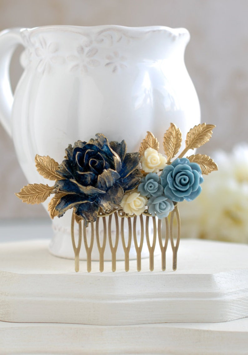 Navy Blue Bridal Hair Comb Gold Navy Blue Wedding Something image 0