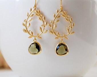 Dark Olive Green Gold Leaf Wreath Dangle Earrings, Olivine Wedding Jewelry, Laurel Wreath earrings, Chandelier Earrings, gift for mom wife