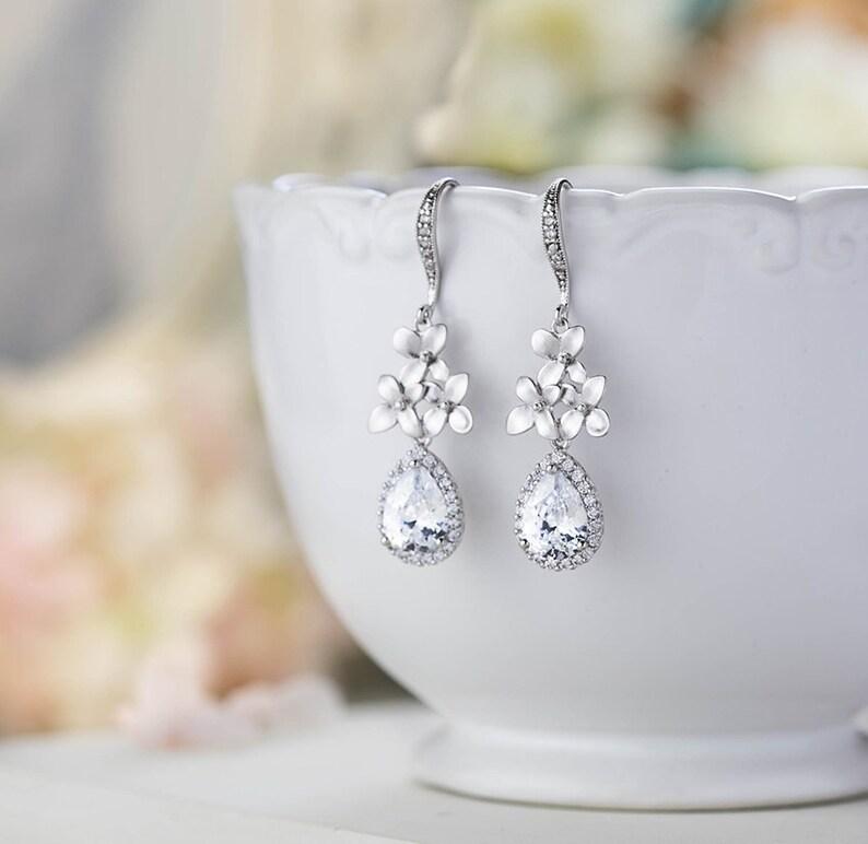 99b0e7001b Silber Braut Ohrringe Ohrringe Silber Ohrringe Hochzeit klar | Etsy
