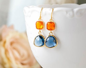Orange Tangerine Sapphire Blue Earrings Gold Dangle Earrings Montana Blue Navy Blue Glass Drop Earrings Wedding Earrings Bridesmaid Gift
