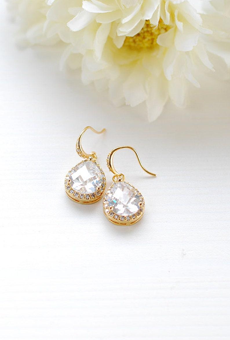 Set of 6 LARGE Teardrop White Crystal Cubic Zirconia Earrings Gold Bridal Earrings Wedding Earrings Bridesmaid Earrings Bridesmaid Gift