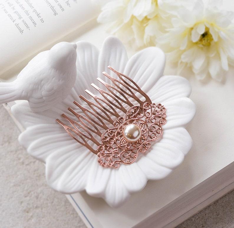 Bridesmaid Gift Rose Gold Wedding Bridal Hair Comb Rose Gold Hair Comb Winter Fall Autumn Wedding Filigree Champagne Pearl Comb