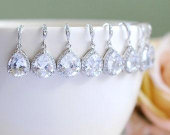 Bridesmaid Earrings Set of 5, 6, 7, 8, 9, 10, 11, 12 Silver Bridal Earrings, LARGE Teardrop White Crystal Cubic Zirconia Wedding Earrings