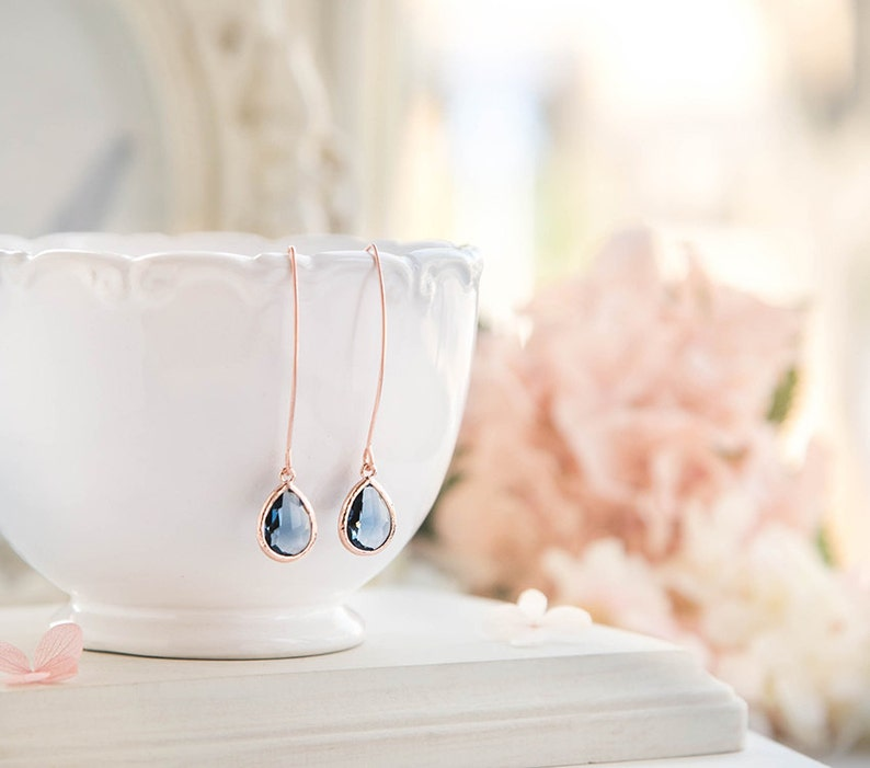 Rose Gold Sapphire Earrings  Navy Blue Wedding Jewelry image 0