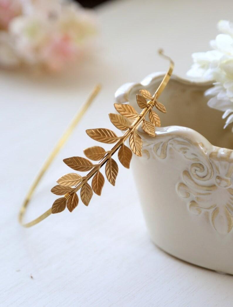 Grecian Hairband Bridal Hair Woodland Wedding Large Leaf Headband Wedding Headband Gold Leaf Headband Grecian Headpiece