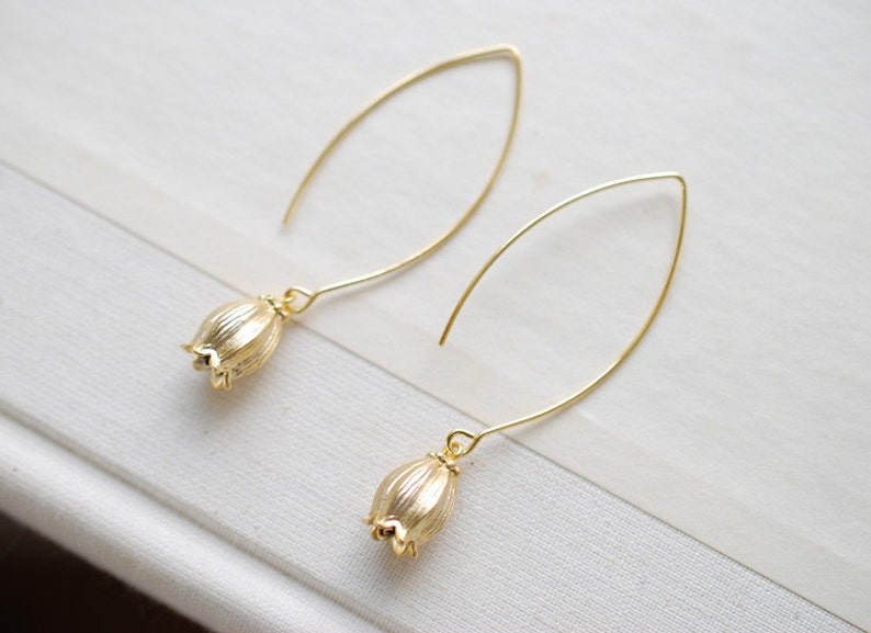 Gift for Mom Sister Aunt Matte Gold Lily of The Valley Flower Long Dangle Earrings Everyday Earrings Lily of the Valley Earrings