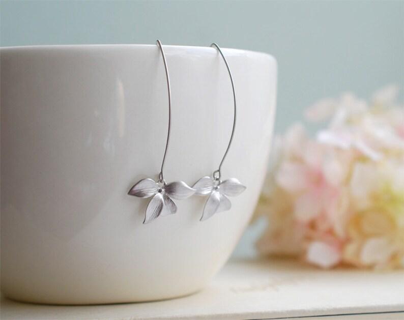 Silver Earrings Orchid Flower Long Dangle Earrings Wedding image 1