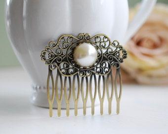 Pearl Hair Comb, Vintage Cream White Pearl Cabochon Antique Brass Filigree Bridal Hair Comb, Wedding Hair Comb, Victorian Art Nouveau