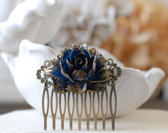 Gold Tipped Navy Dark Blue Rose Hair Comb. Antiqued Brass Filigree Hair Comb. Vintage Inspired Wedding Bridal Hair Comb