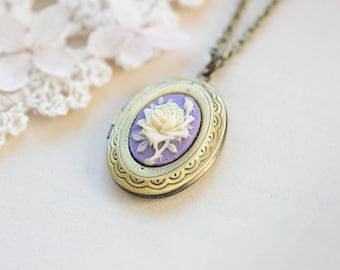 Cameo Locket Necklace, Ivory Purple Rose Flower Cameo Pendant Necklace, Antiqued Gold Brass Oval Locket Necklace, Photo Locket, Gift for Her