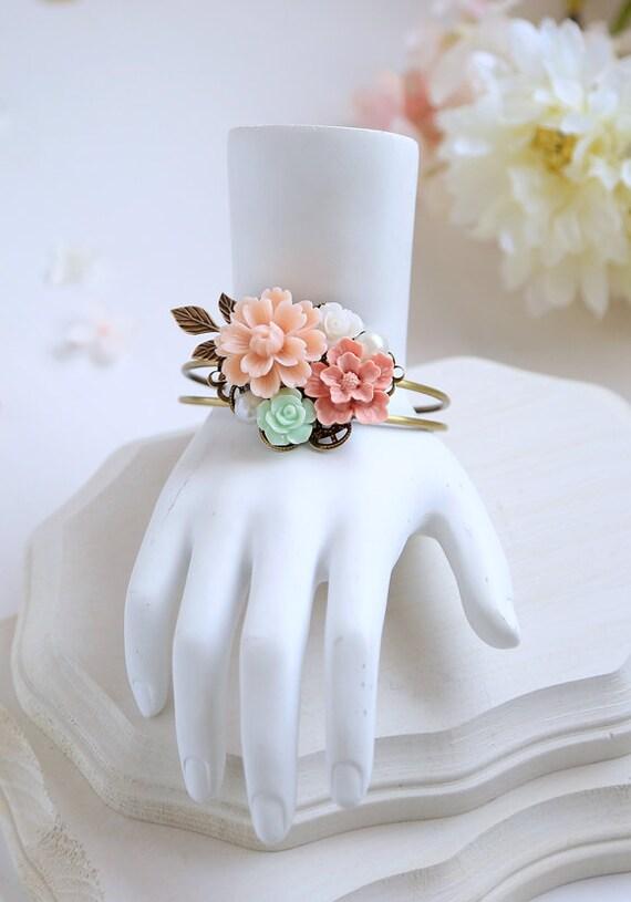 Pink Mint Green Flower Bracelet Mint Green Wedding Jewelry | Etsy