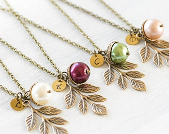 Acorn Necklace Personalized Cream Burgundy Green Powder Pink Pearl Acorn Leaf Branch Pendant Initial Necklace Fall Jewelry gift for mom