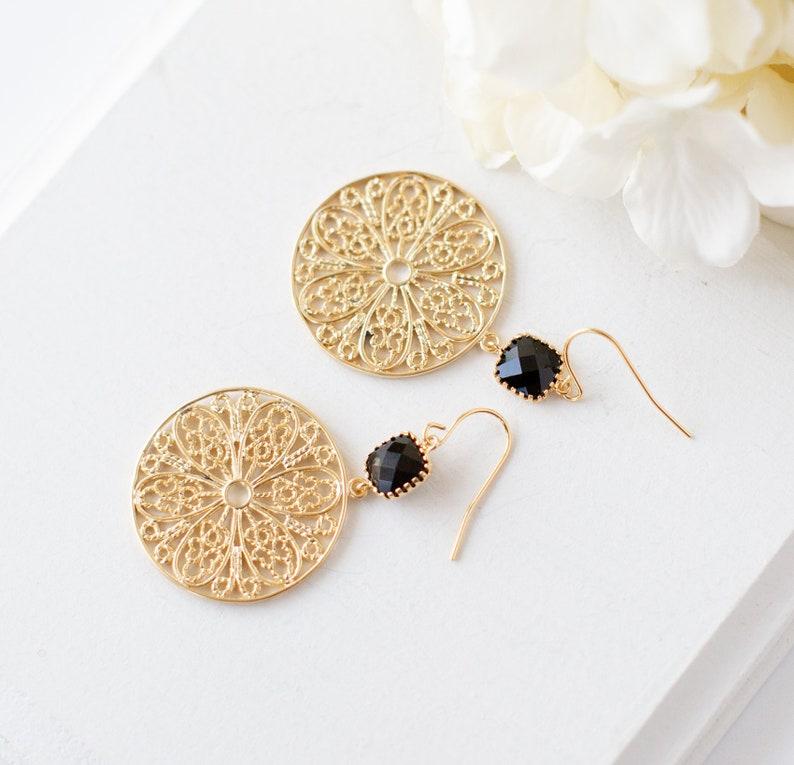 Gold and Black Earrings Boho Chic Gift for Her Jet Black Gold Filigree Earrings Gold Mesh Round Circle Earrings Gold Statement Earrings