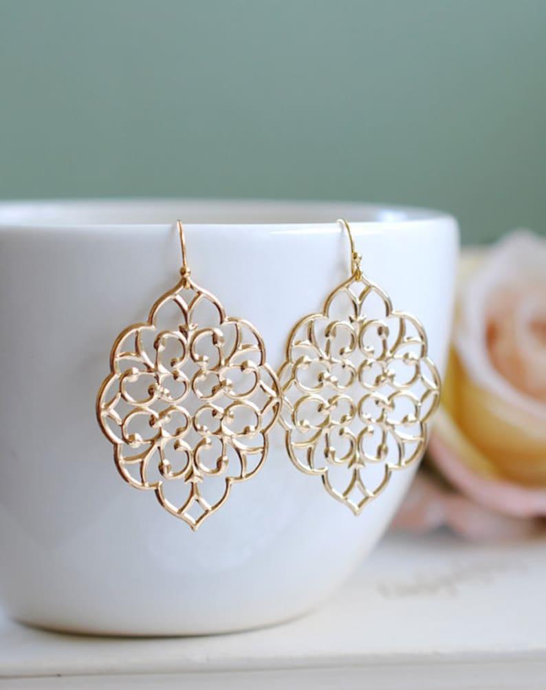 Bridesmaid Earrings Moroccan Earrings Bridal Shower Gift Gold Tear drop Earrings Boho Chic Bohemian Filigree Dangle Earrings
