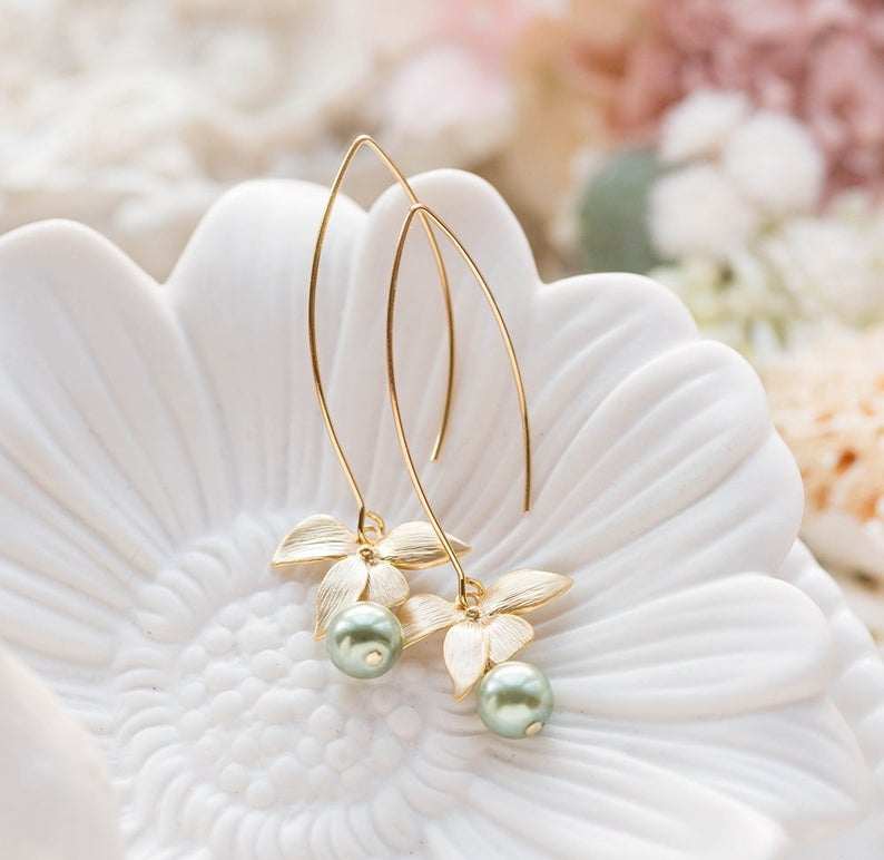 Sage Green Pearl Earrings with Gold Flower Olivine Sage Green image 0