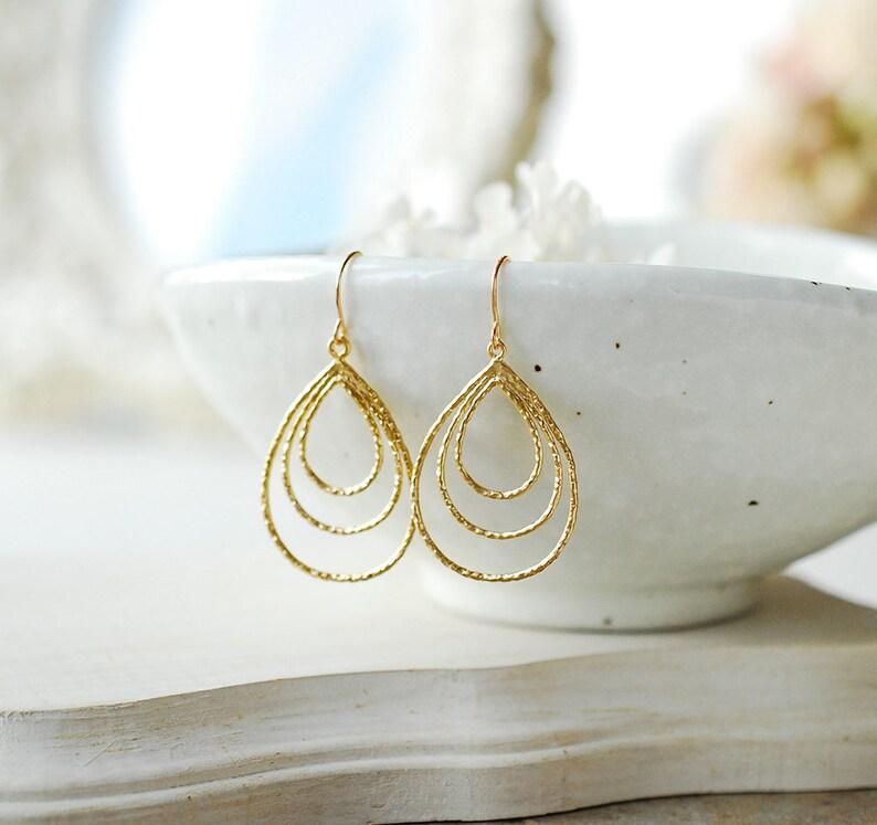 Simple Everyday Earrings Gift for Her Gift for Women Gold Triple Teardrop Hoop Earrings Minimalist Earrings