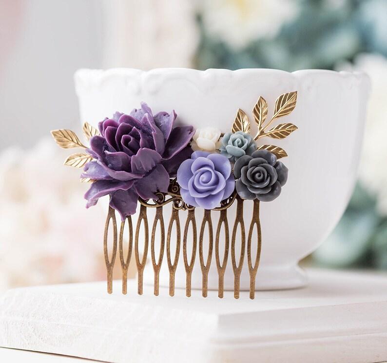 Purple Wedding Hair Comb Purple Grey Ivory Floral Bridal Hair Comb Gold Leaf Branch Bridal Hair Piece Bridesmaid Gift