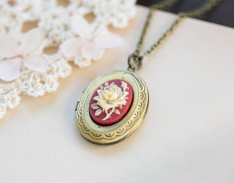 Valentines gift Locket Necklace Rose Cameo Locket Necklace Gift for Her Antique Brass Oval Locket Necklace Red and Ivory Floral Cameo