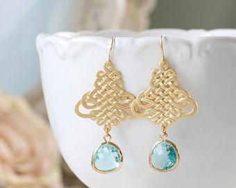 Aqua Earrings Matte Gold Knot Filigree Aqua Blue Glass Dangle Earrings Chandelier Earrings Wedding Jewelry bohemian earrings boho chic
