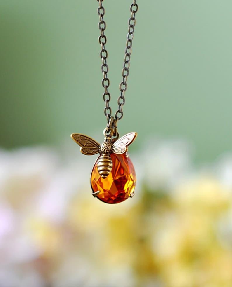 Bee Necklace With Topaz Honey Drop Bee Jewelry Honey Bee image 0