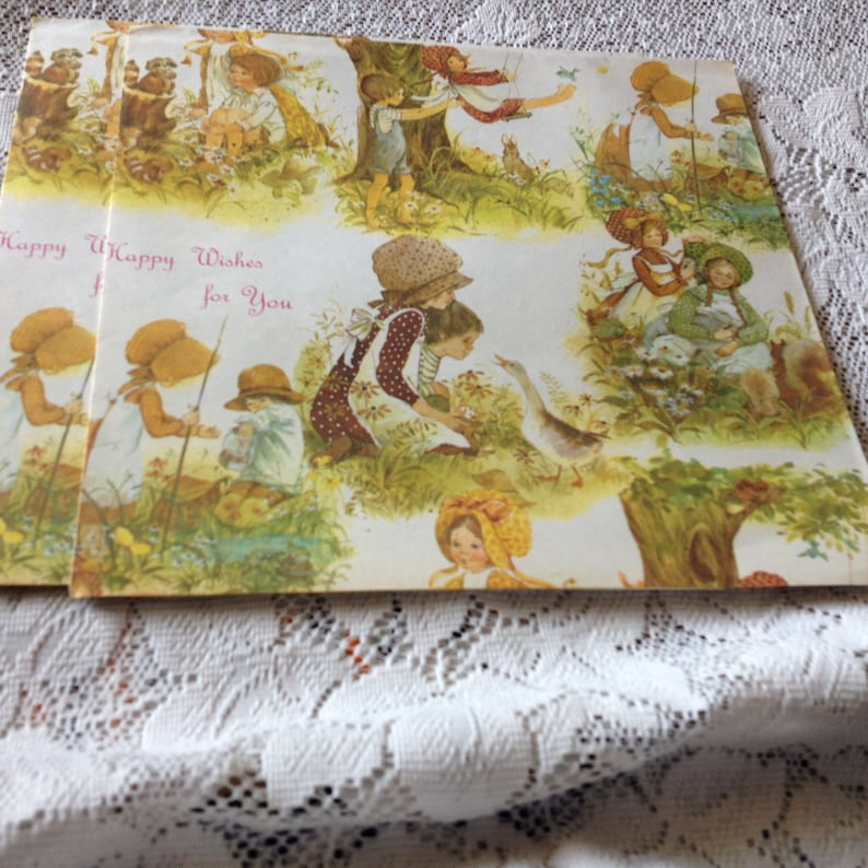 Vintage Children on Swings Happy Wishes Gift Wrap